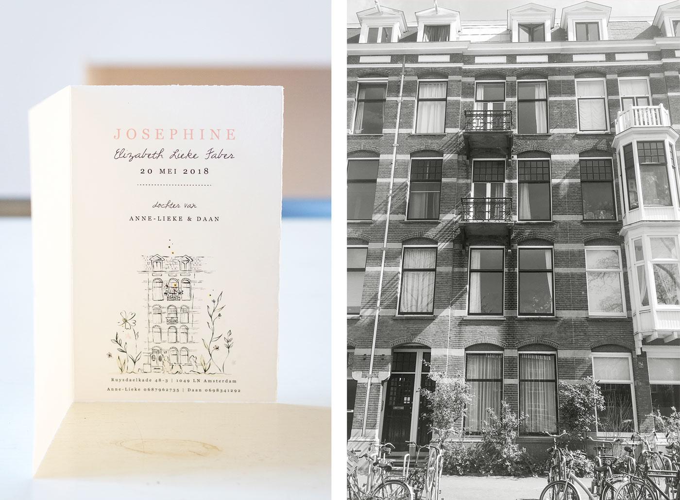 Geboortekaartje eigen huis tekening Amsterdam