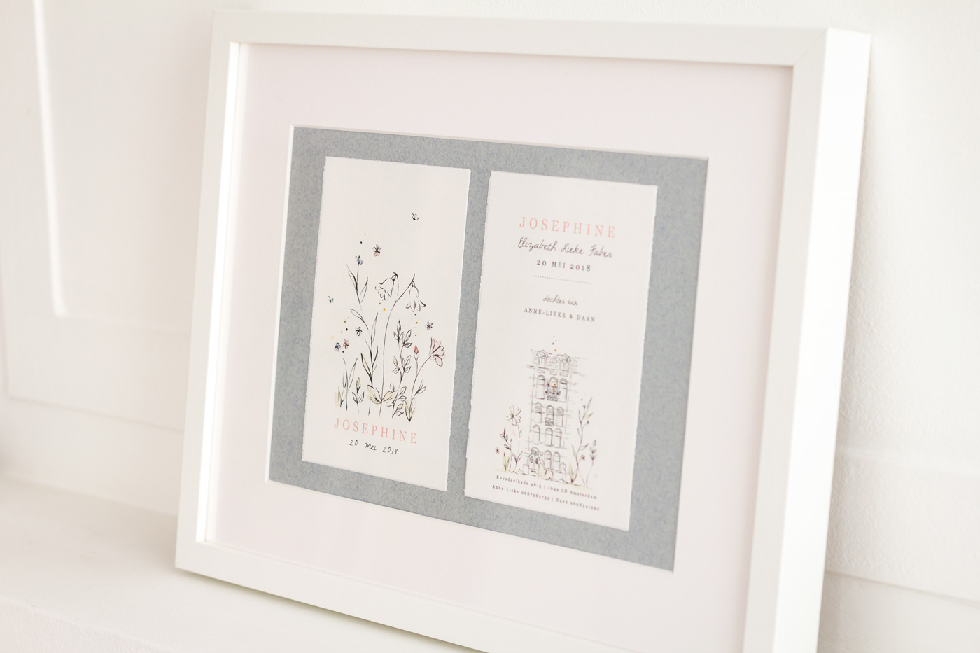 Framed birth announcement card Amsterdam Netherlands