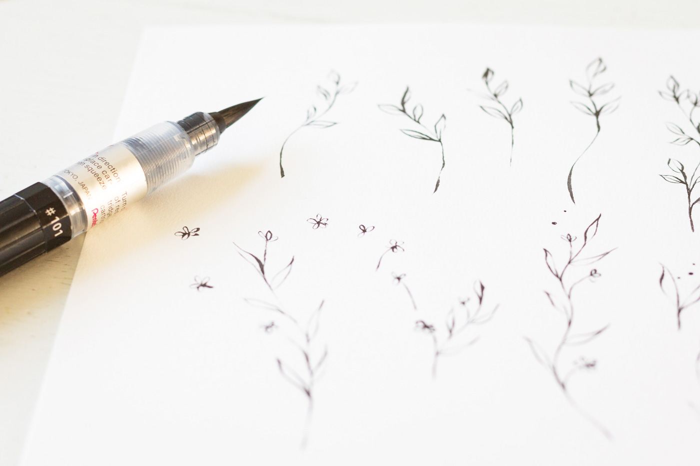 Inkt illustratie bloemen
