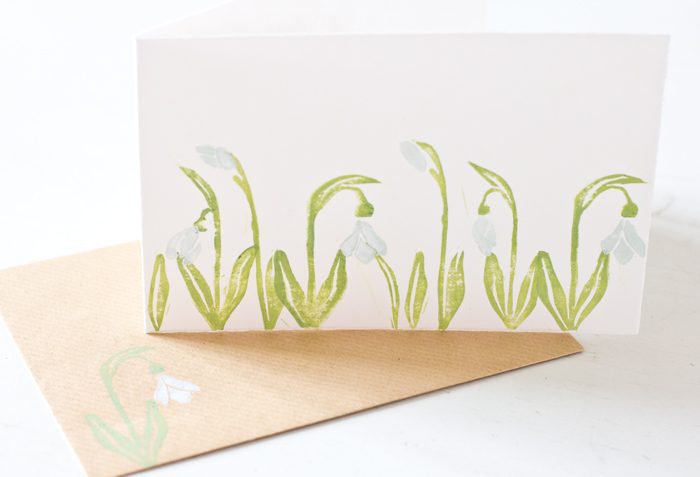 Snowdrop greeting card with envelope