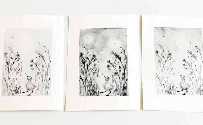 Zwart wit print vogel kuiken - Anne-Lieke