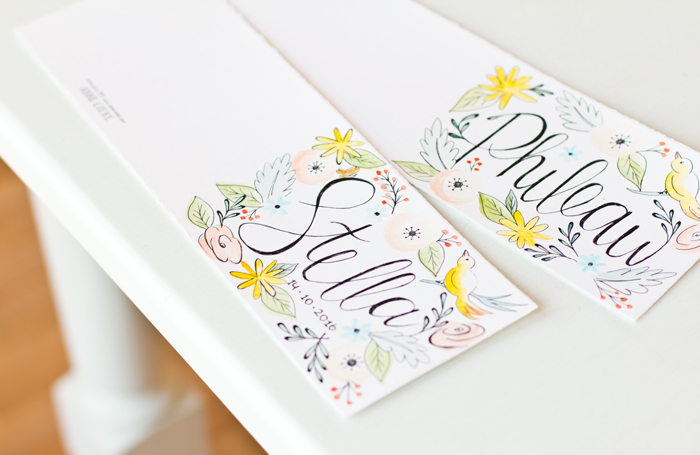 Hand painted cards with flowers and birds - by Anne-Lieke