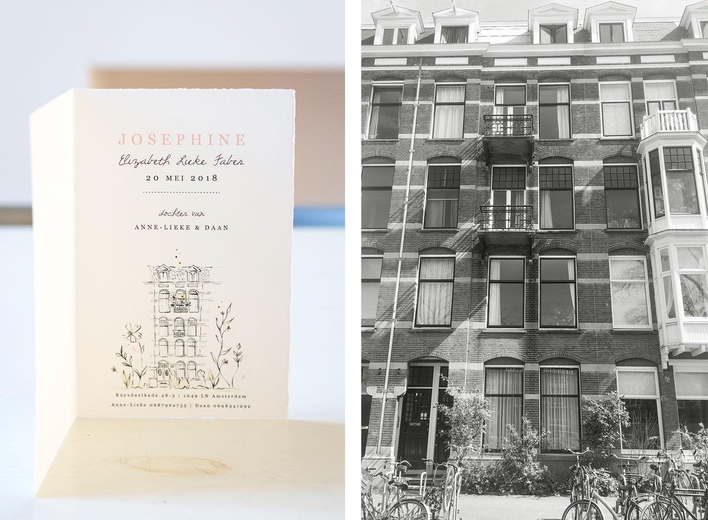 Birth announcement card house Amsterdam