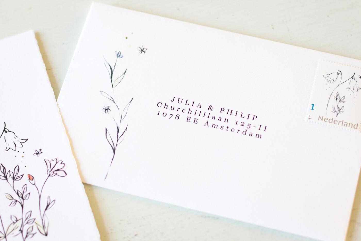 Geboortekaartje envelop handgeschept