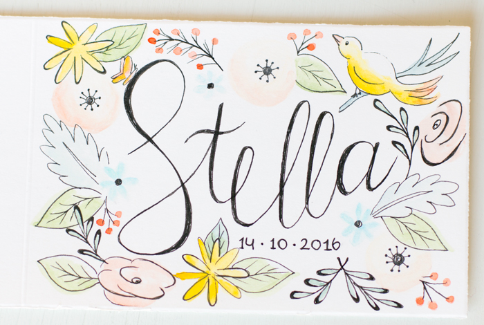 Birth announcement card birds and flowers