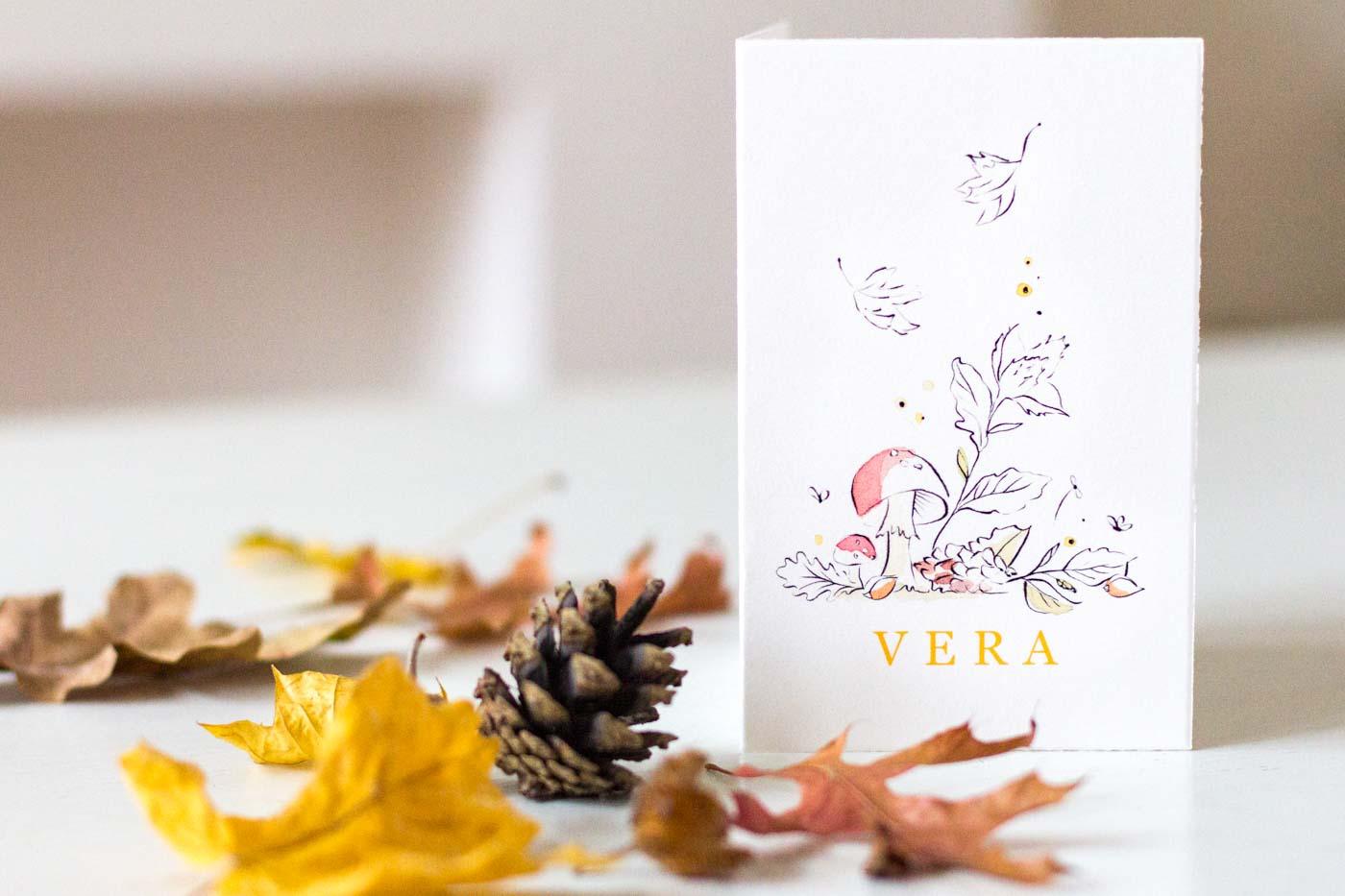 Herfst geboortekaartje illustratie Anne-Lieke Creative