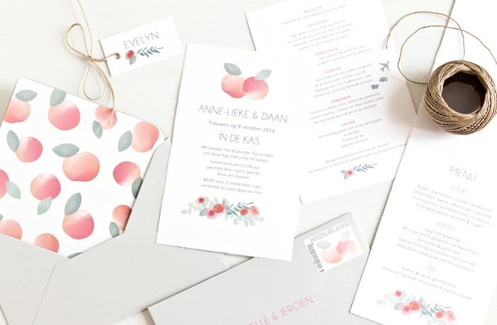 bruiloft uitnodiging boomgaard