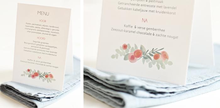 wedding menu flowers and apples