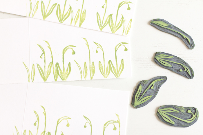 Snowdrops lino cut cards spring theme